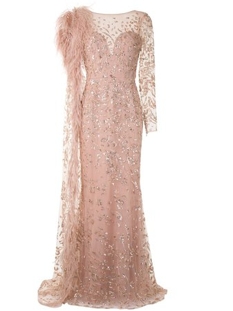 Zuhair Murad Embellished Feather Gown - Farfetch