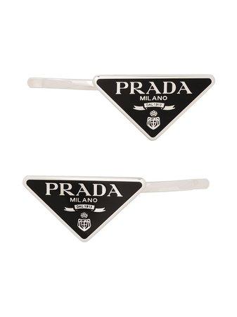 Prada Logo Triangle Hair Slides - Farfetch