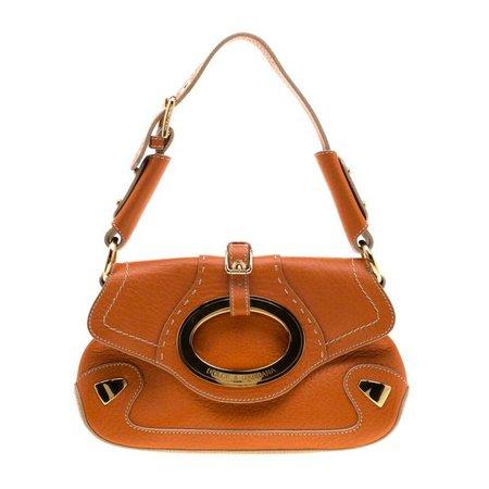 Dolce and Gabbana Orange Pebbled Leather Ring Shoulder Bag For Sale at 1stdibs
