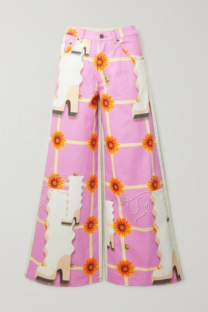 Printed High-rise Wide-leg Jeans - Pink