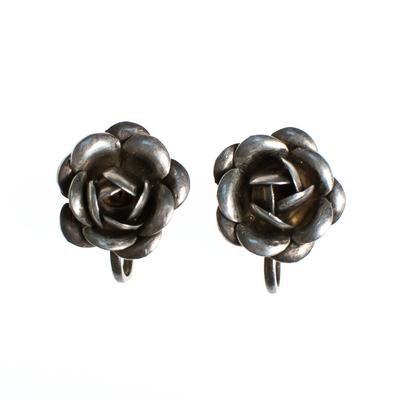 Vintage Sterling Silver Rose Earrings, Screwback - Vintage Meet Modern