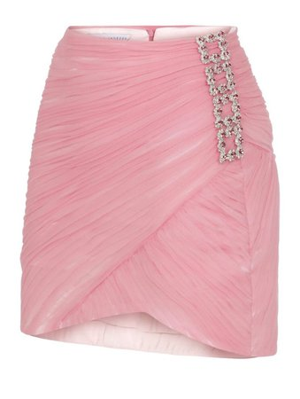 draped mini skirt with crystal buckle details