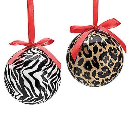 "Leopard & Zebra Jungle Theme Christmas Tree 3"" Ball Ornament - Set of 2 Xmas Holiday Novelty Hanging Decoration Accessory - Build My Christmas"
