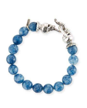 Emanuele Bicocchi Blue Agate Sterling Silver Bracelet