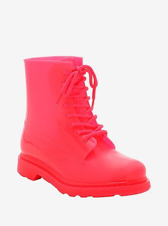 Neon Pink Bright Lights Combat Boots