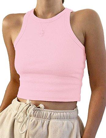 Meladyan Women's Round Neck Basic Racerback Camisole Rib-Knit Solid Sleeveless Crop Tank Tops at Amazon Women's Clothing store