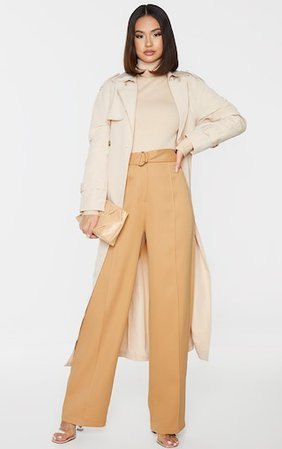 Camel D Ring Woven Belted Straight Leg Trousers | PrettyLittleThing USA