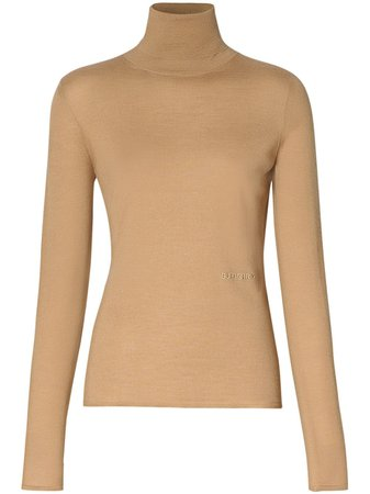 Burberry Embroidered Logo Roll Neck Jumper - Farfetch