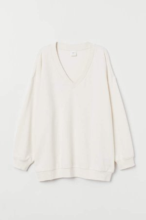 V-neck Sweatshirt - Beige