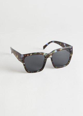 Squared Tortoise Sunglasses - Dark Tortoise - Sunglasses - & Other Stories