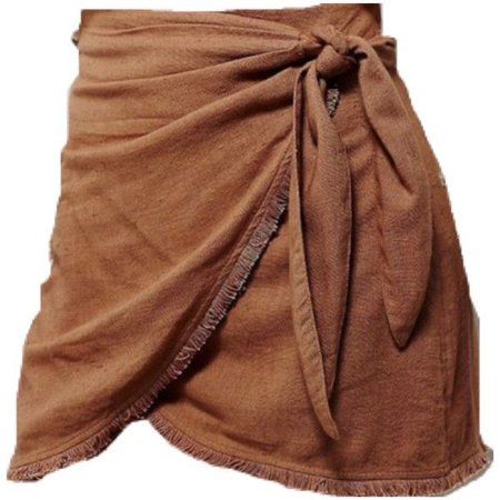 brown tied skirt