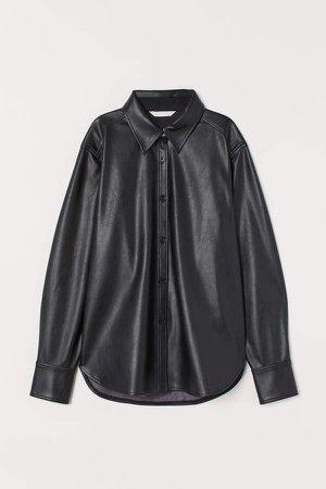 Faux Leather Shirt - Black