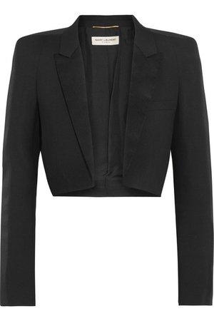 Saint Laurent | Cropped satin-trimmed wool-gabardine blazer | NET-A-PORTER.COM