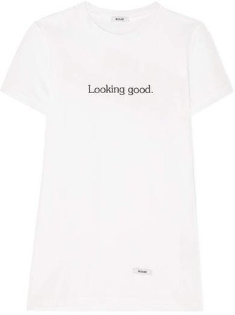 BLOUSE - Looking Good Printed Cotton-jersey T-shirt - White