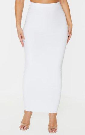 White Slinky High Waist Midaxi Skirt | PrettyLittleThing