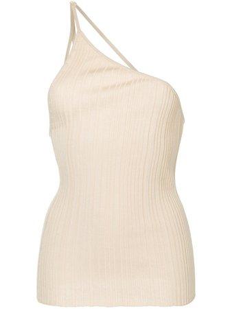 Jacquemus Beige cotton one-shoulder pleated top