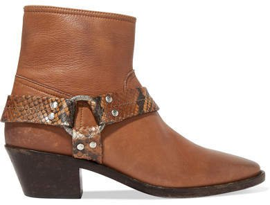 Bretagne Distressed Leather And Snake-effect Ankle Boots - Tan
