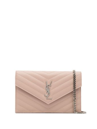 Pink Saint Laurent Monogram Plaque Quilted Crossbody | Farfetch.com