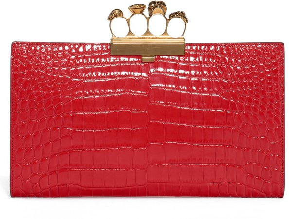 Four-Ring Knuckle Clasp Croc Embossed Leather Clutch