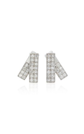 Lynn Ban Jewelry Insignia Sterling Silver and Diamond Earrings