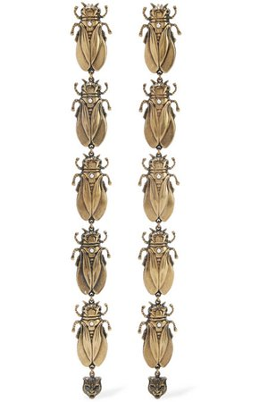 Gucci | Gold-tone, faux pearl and enamel earrings | NET-A-PORTER.COM