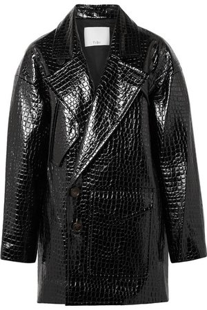 Tibi | Oversized croc-effect faux patent-leather coat | NET-A-PORTER.COM