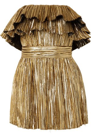 Saint Laurent | Strapless plissé-lamé mini dress | NET-A-PORTER.COM