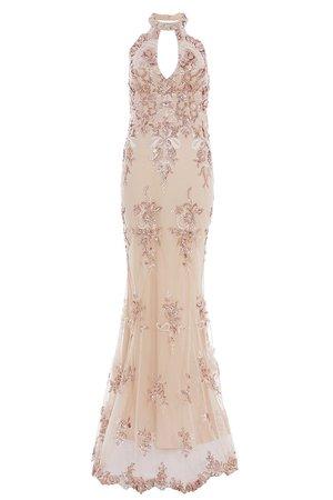 Rose Gold Chiffon Sequin Cut Out Maxi Dress - Quiz Clothing