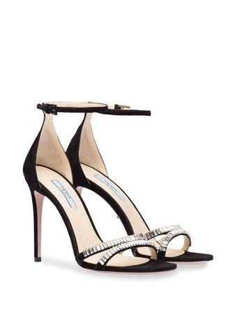 Prada Crystal Embellished Sandals | Farfetch.com