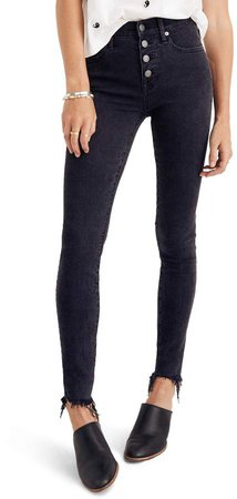 9-Inch Button High Waist Ankle Skinny Jeans