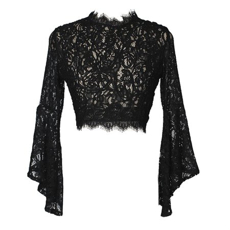 Gothic Wiccan Lace Sheer Flare Sleeves Crop Top – ROCK 'N DOLL