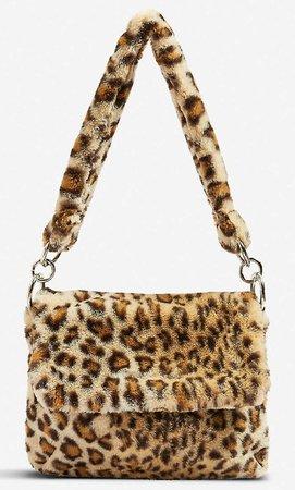 leopard print faux fur bag