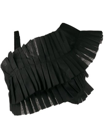 LOULOU asymmetric pleated cropped top