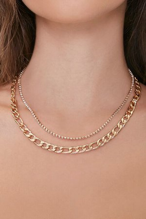 Rhinestone Box Chain Layered Necklace
