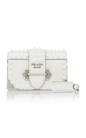 Prada Embellished Cahier Leather Shoulder Bag