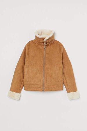 Faux Fur-lined Jacket - Beige