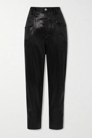 Belted Silk-satin Tapered Pants - Black