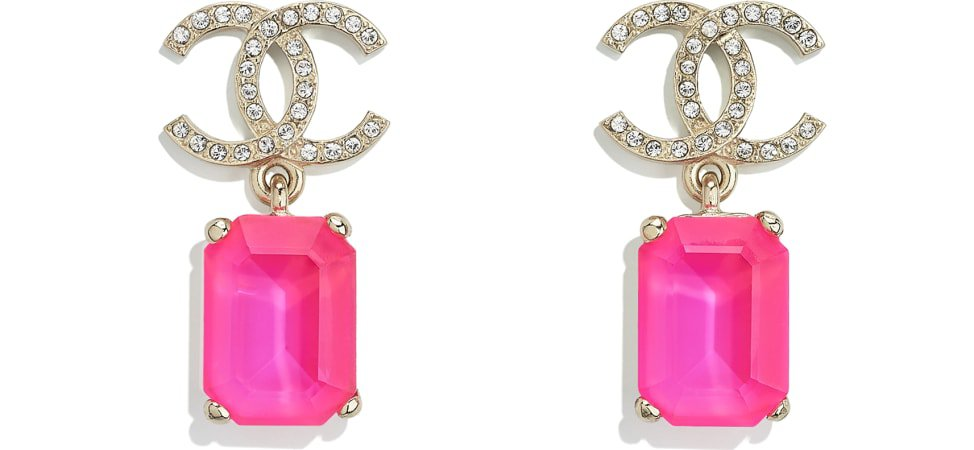 Earrings, metal & strass, gold, pink & crystal - CHANEL