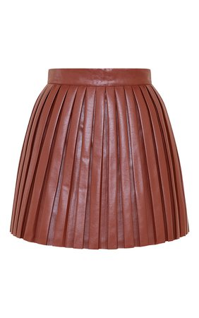 Chocolate Faux Leather Pleated Skater Skirt | PrettyLittleThing USA