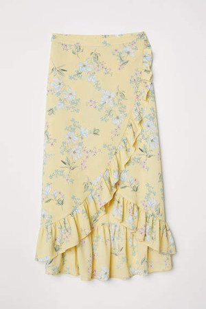 Flounced Wrap-front Skirt - Yellow