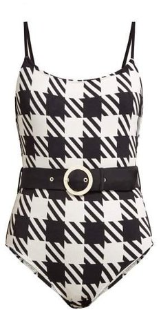 The Nina Belted Swimsuit - Womens - Black White