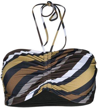 ruched striped bikini top