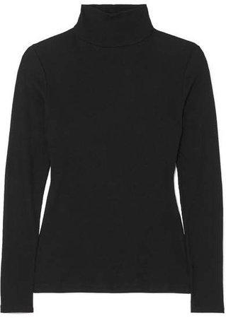 Ninety Percent - Kaye Ribbed Organic Cotton-jersey Turtleneck Top - Black