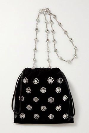 Black Crystal-embellished velvet clutch | Miu Miu | NET-A-PORTER