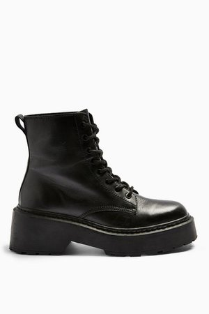 AUSTIN Black Leather Lace Up Boots   Topshop