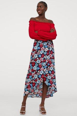 Wrap-front Skirt - Black/floral - Ladies   H&M US