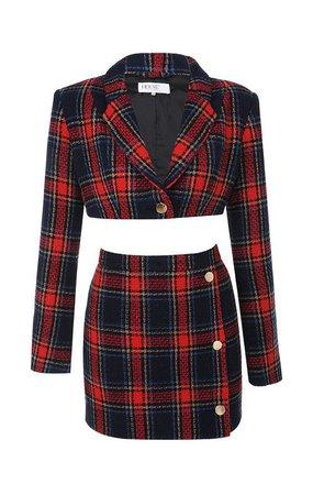 Red Plaid Skirt Set