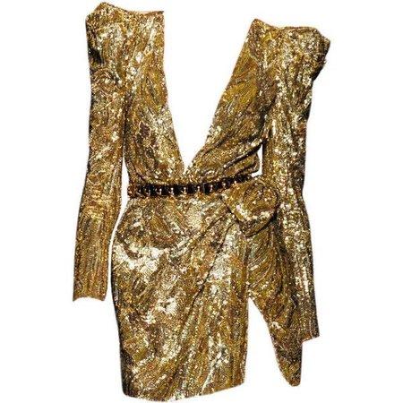 Balmain Spring 2010 Gold Dress