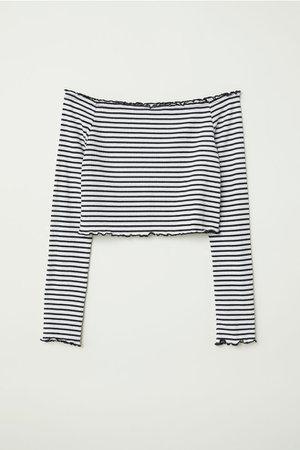 Off-the-shoulder Top - White/black striped - Ladies | H&M US