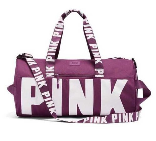 purple duffle bag